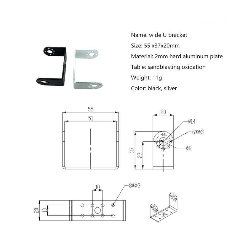 Servo dirseği, çift eksenli dijital Servo direksiyon rulman braketi DIY insansı robot kol, robotik parça aksesuarı