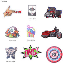 ZOTOONE Cartoon  UFO Alien Patches on Clothes Metal Bands Punk Stripes DIY Tai Chi Embroidered Badges Stickers C