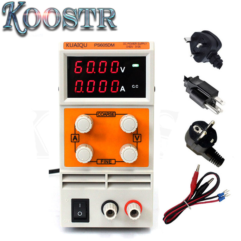 KUAIQU PS605DM Adjustable High Precision DC Power Supply Output 0 60V 0 5A AC110 220V