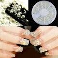 2015 nueva 3 tamaños hombre Rhinestone de la perla Nail Stickers arte DIY belleza decoraciones rueda 6F4V