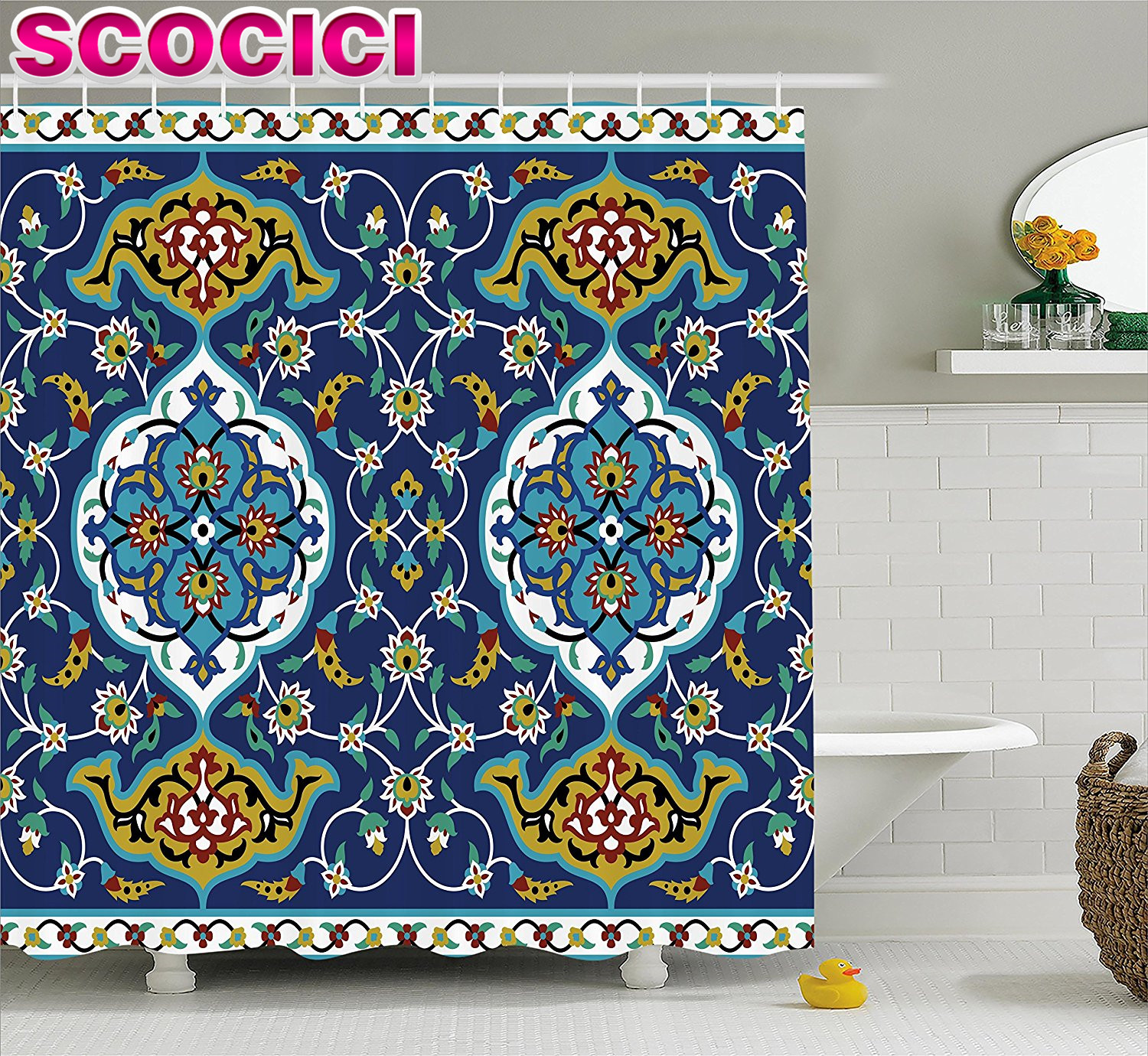 Moroccan Shower Curtain Authentic Oriental Motif With Vintage Byzantine  Style Tile Effects Artwork Fabric Bathroom Decor