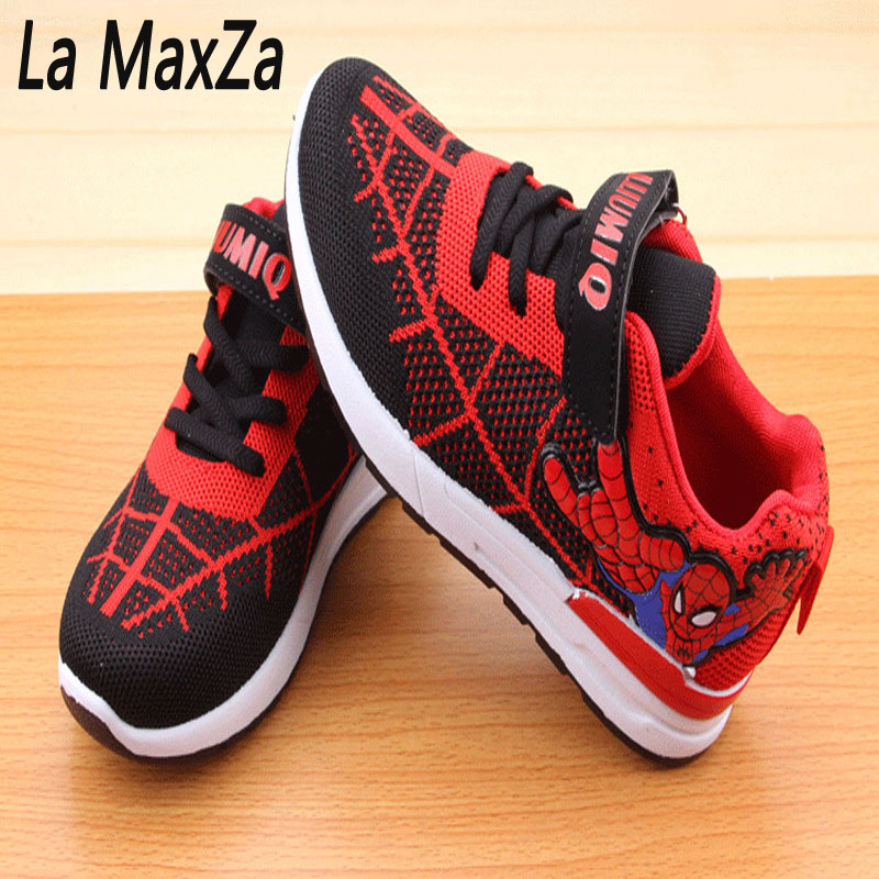 Spring 2018 Vapormax Kids Spiderman with Night Sneakers boy shoes kids Girls Sneakers 34-40 cm tenis running shoes enfat sport