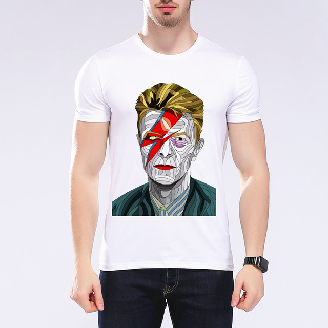 bb82499229 2018 summer new fashion character print T shirt men david bowie star design  t ahirt music tops tees brand White t-shirt L9J67