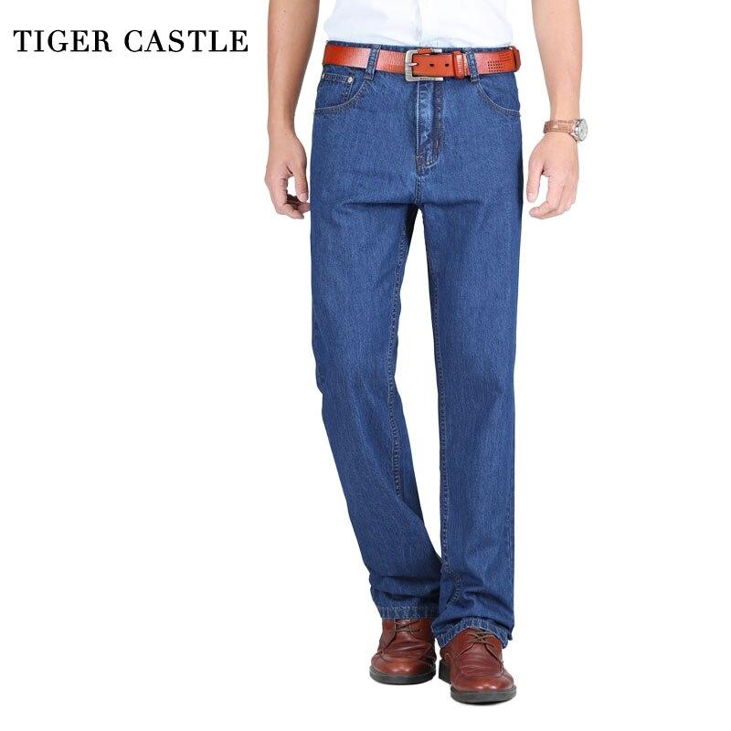 2019 Mens Classic Thin Summer Jeans Blue Male High Waist Denim Overalls 100% Cotton High Quality Brand Men Jean Pants Size 40 42