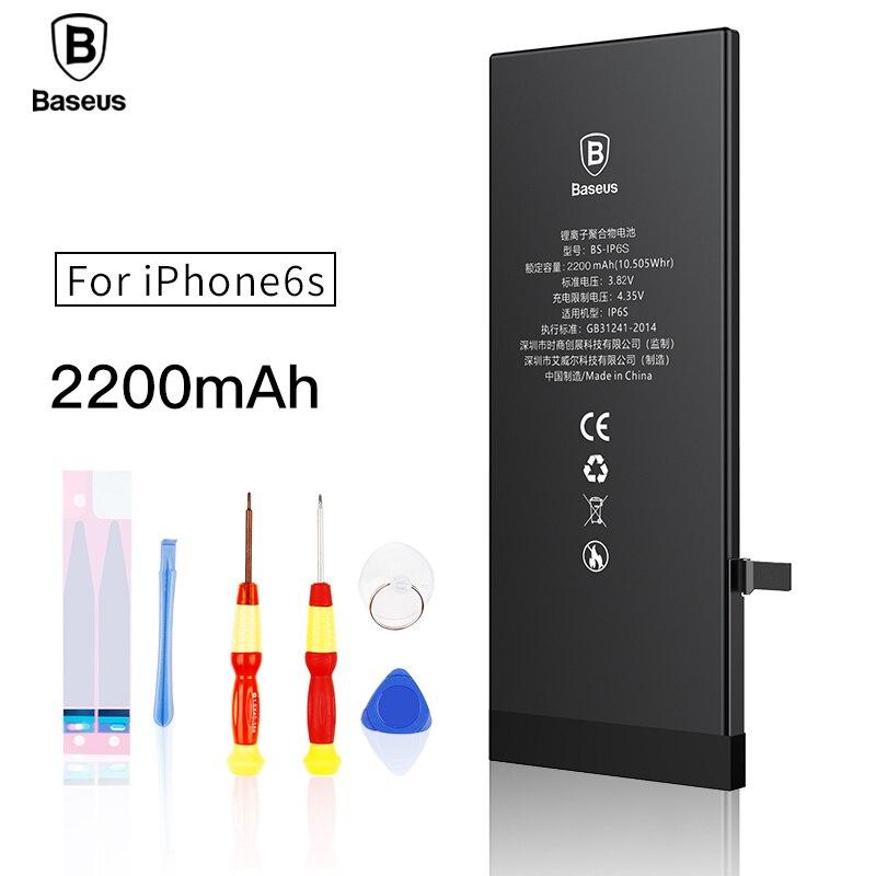 Baseus Original Lithium Polymer Battery For Apple iPhone 6S 6SG Internal Batteria High Capacity 2200mAh Free Tool Retail Package
