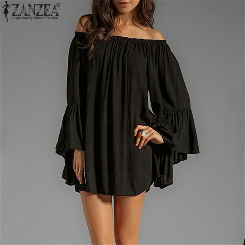 ZANZEA Kvinnor Sexy Off Shoulder Dress 2018 Sommar Slash Neck Flare Sleeve Tillfälligt Löst Mini Kort Party Vestidos Plus Size S-3XL