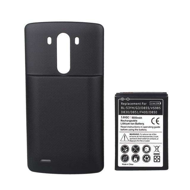 Batería recargable de alta capacidad de 6800 mah batería de reemplazo con el caso de la cubierta negro para lg g3 d855 f400 d830 d851 vs985 d850