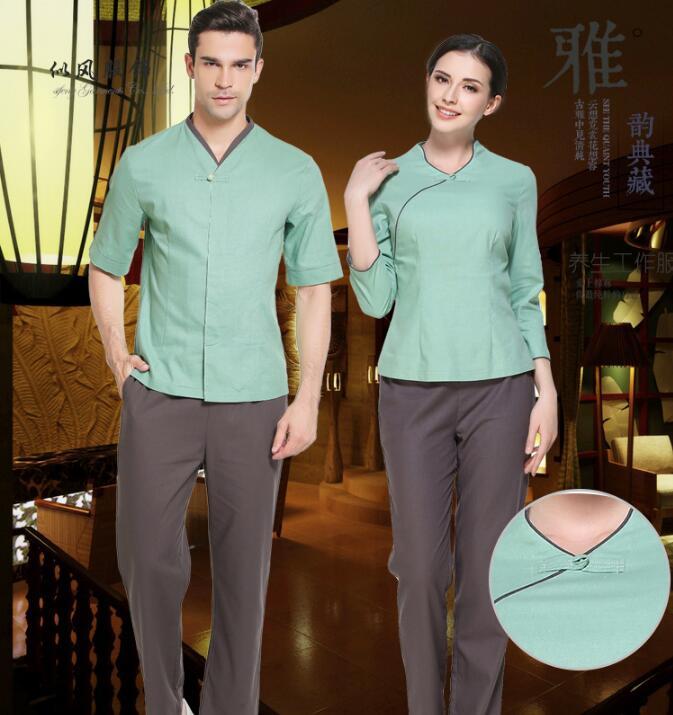 Geleerd Hoge Kwaliteit Massage Kleren Vlas Schorten Spa Mannen Salon Uniform Vrouw Ober Uniform Chinese Gezondheid Technicus Service Snelle Kleur