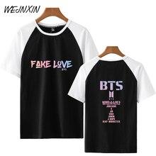 WEJNXIN verano BTS Kpop raglán camiseta hombres mujeres JIMIN V JUNG KOOK  concierto álbum manga corta falso amor empalme camiset. e5045d977d120