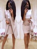 Office Lady Formal Dress 2019 New Suits Business Wear Women Long Blazer Jacket Sheath Dress 2 Piece Women's Sets