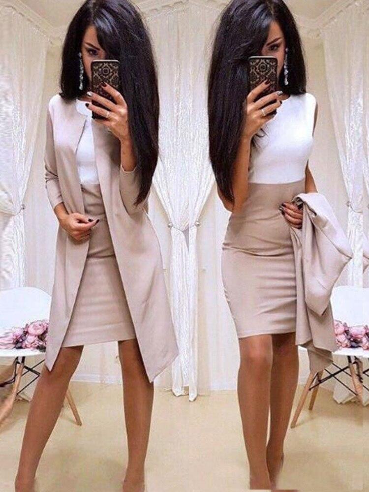Senhora do escritório Vestido Formal 2019 Novos Ternos Desgaste do Negócio Das Mulheres Jaqueta Blazer Longo Bainha Vestido 2 Peças das Mulheres Sets