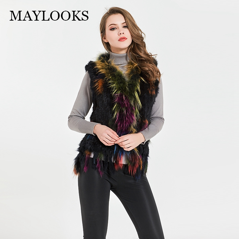 Mink Fur Coat V-neck Fur Coat 2018 New Rabbit Real Classical Knitted Vest Gilet With Raccoon Collar Women Multiple Color Cs84