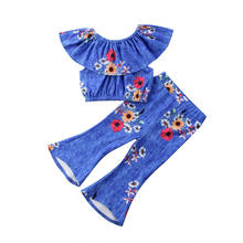 2018 new Toddler Kid Baby Girl Lotus Collar Tops T-shirt and Flared Pants Bell Bottom Outfits fashion trend summer print CH(China)