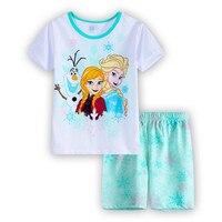 2017 Girls Cartoon Pijamas Summer Pyjamas Children Pajamas Clothing Set ShortSleeve Kids Sleepwear Elsa Anna Girls