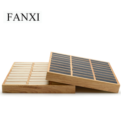 FANXI China Decorative Wholesale New Stackable Wooden Jewelry Trays Gray Beige Solid Wood Bangle & Rings Display Tray