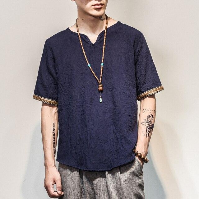 中国風ストア2018男性コットンリネン半袖tシャツ夏薄い生地中国伝統服男性レトロtシャツ1601