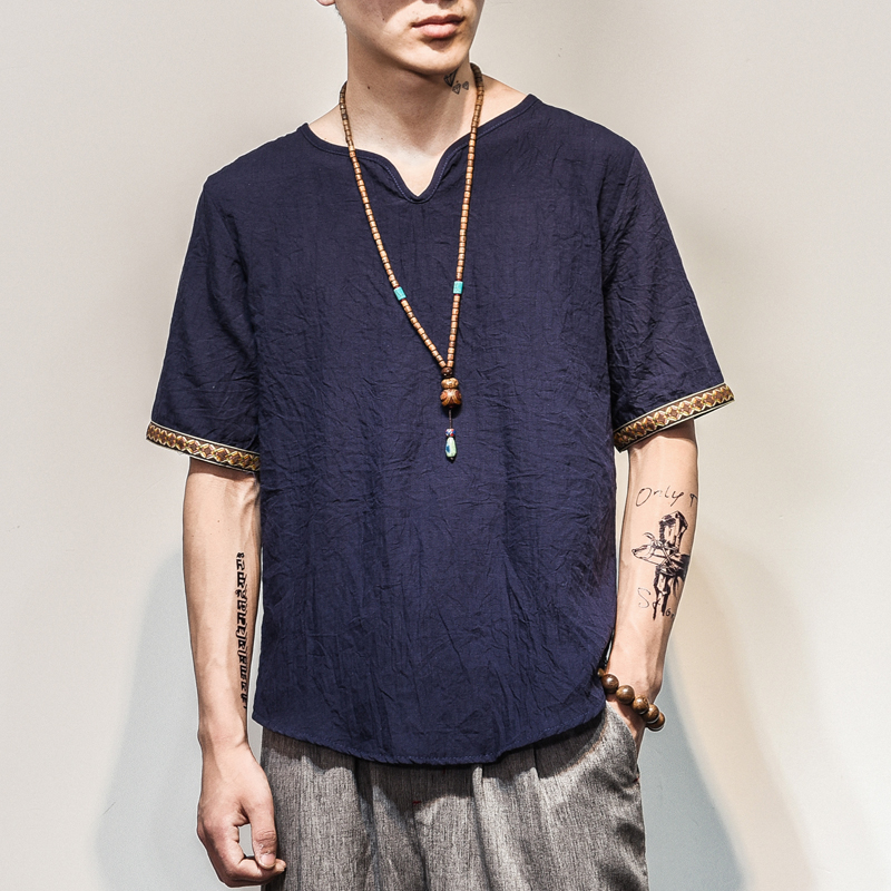 Sinicism Store 2018 Men Cotton Linen Short Sleeve   T     Shirt   Summer Thin Fabric Chinese Traditional Clothes Male Retro   t  -  Shirt   1601