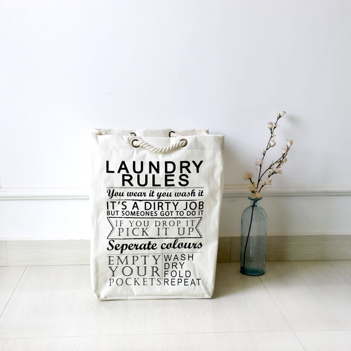 Lacing Type Dirty Clothes Storage Bag Coarse Cotton Rope Shopping Bag Laundry Rules Cotton Linen Eco