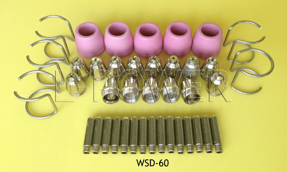 50pcs SG55 AG60 WSD60 Consumables KIT Electrodes Sheild Cups TIPS Spacer Guide for Plasma Cutter Welder Torch