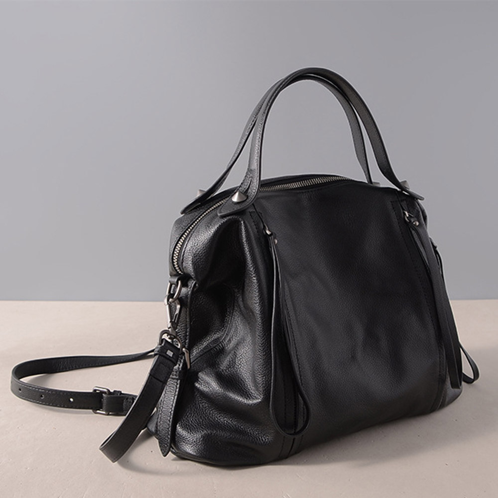 Vintage Women Handbag Genuine Leather Classic Black Casual Tote Office Lady Shoulder Tote Messenger Bag Large Capacity