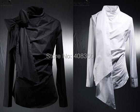 Vintage Tuxedo Dress Shirts Mens Fashion Bowknot Long Sleeve Designer Brand White Black Shirt Chemise Homme 2015 New  (4).jpg