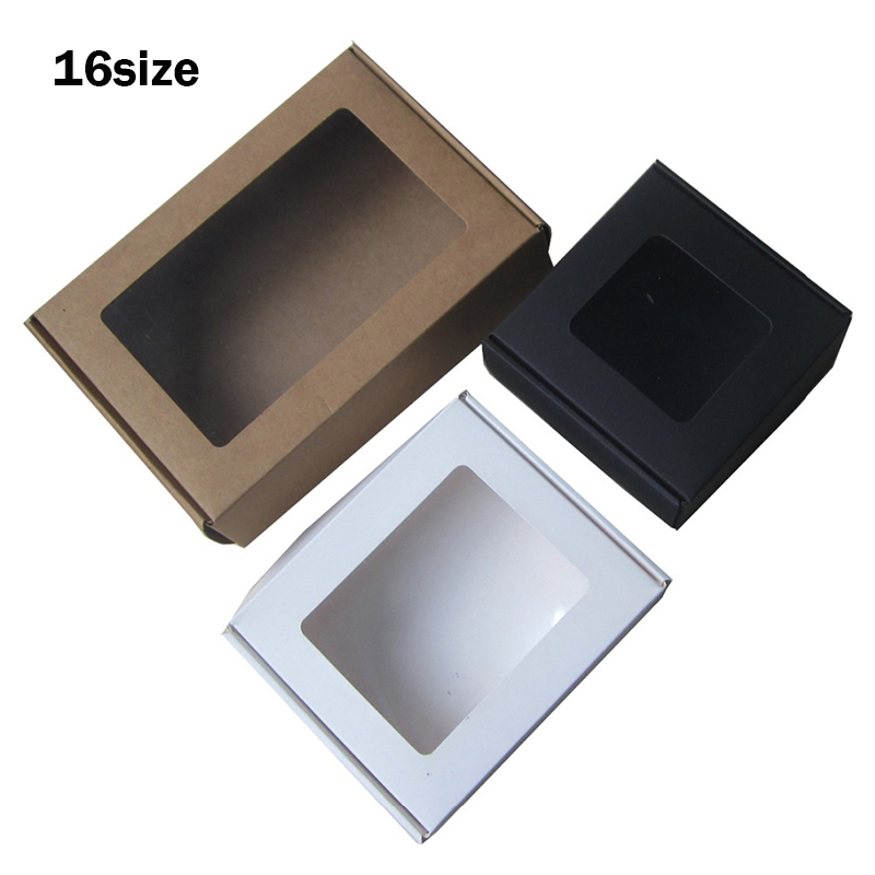 10pcs Multi Size Kraft Cardboard Box Small Gift Box Large Window Paper Box For Packaging White Black Paper Box With Window