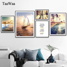Scandinavian Sunset Clouds Tropical Canvas Painting Landscape Posters Modern Prints Sea sailboat Wall Art Picture Home Decor