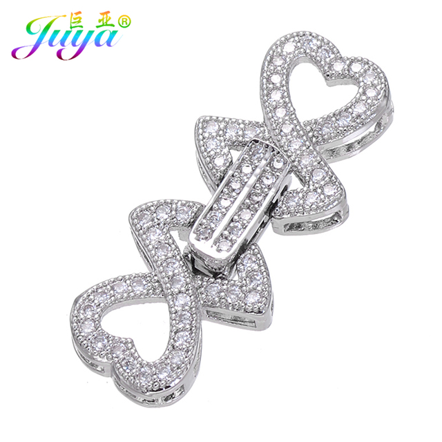 Micro Pave Zircon Heart Charm Metal Fastener Clousure Pearls Clasp  Accessories For Women Natural Stone Pearls f03a574a4b26