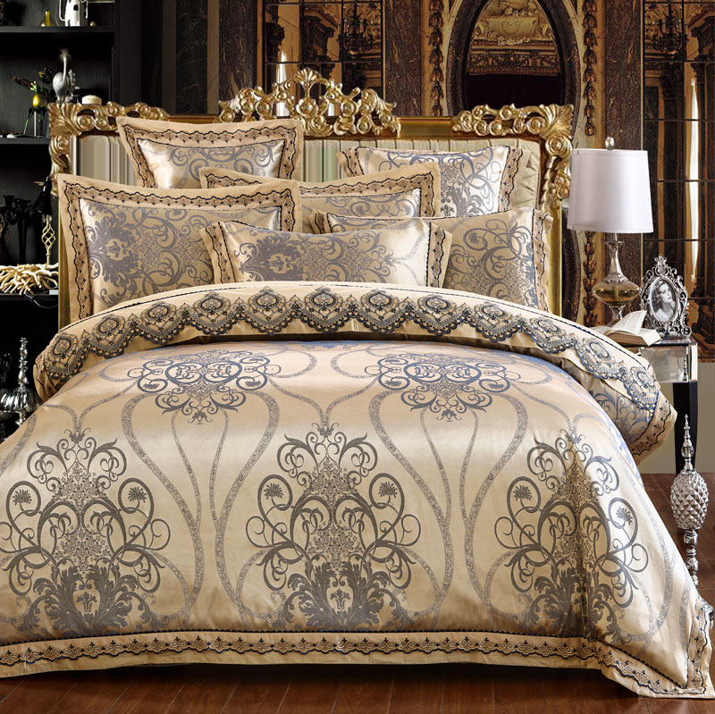 Royal Bedding set Luxury Satin Jacquard Cotton Lace Double King Queen Bedclothes bed set Duvet cover Flat sheet Pillow casesRoyal Bedding set Luxury Satin Jacquard Cotton Lace Double King Queen Bedclothes bed set Duvet cover Flat sheet Pillow cases