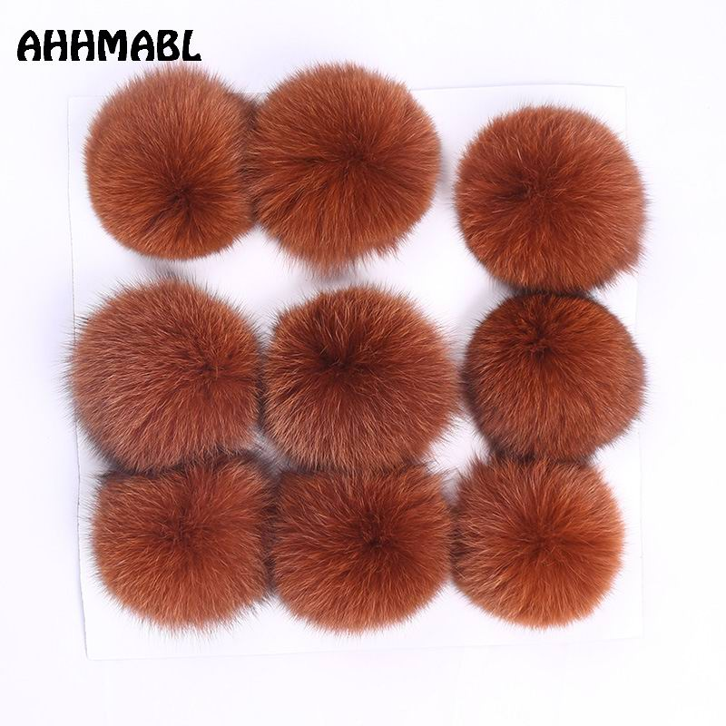 9 Pieces Big Natural Fox Fur Pom Poms 10cm Ball New Color Pompom DIY Winter For Women's Knitted Hats   Skullies     Beanies   Boots
