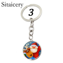 Sitaicery Happy New Year Key Chain Cute Santa Claus Women Men Kids Keychain Car Pendant Ornaments Bag Accessories Christmas Gift