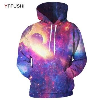 YFUSHI Новинка 2018 года фиолетовый Вселенная печатных для мужчин толстовки Модные мужские 3D печатных толстовки с капюшоном пуловеры для женщи