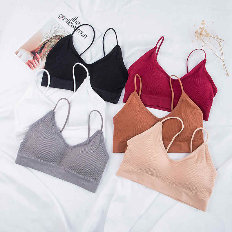Lingerie top solid underwear ladies Four seasons wear seamless chest wrapping comfortable sleep Sexy Sports suspension Underwear