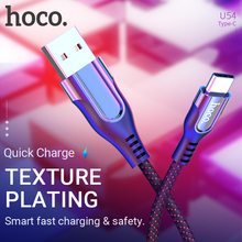 hoco cable usb a to type c fast charging data sync wire nylon braid cord power indicator charger for Samsung Xiaomi Huawei phone цена