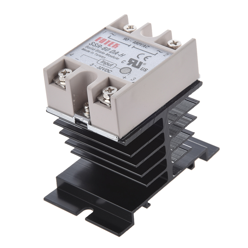 цена на DC to AC SSR-60DA-H AC 90--480V 60A Single Phase Solid State Relay + Heat Sink