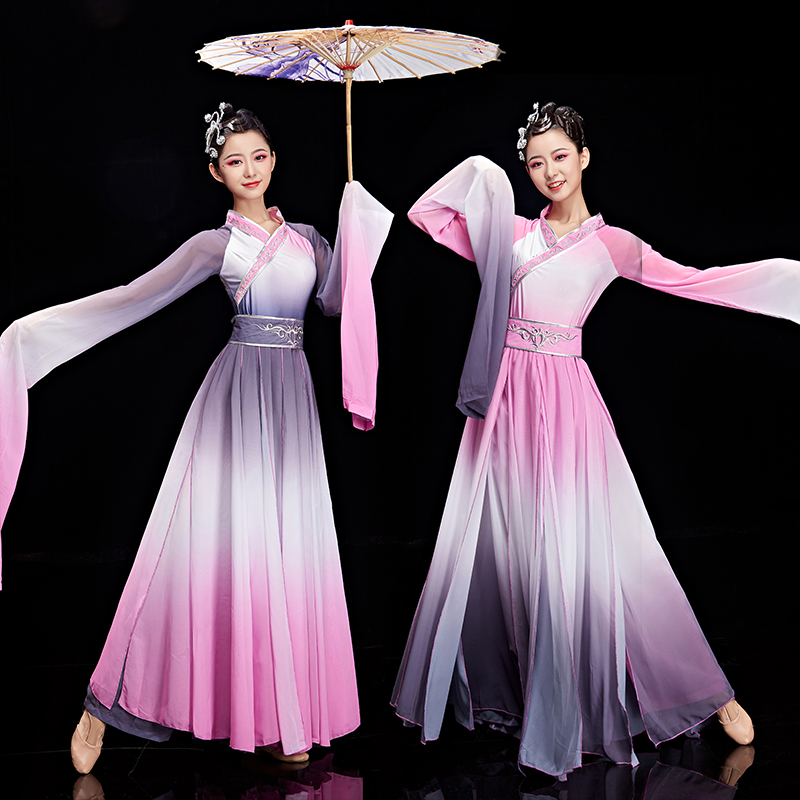 New Sleeve Dance Dress Chinese Style Classical Yangko Dance Costumes Female Elegant Ancient Style Sleeves Hanfu Adult Clothes