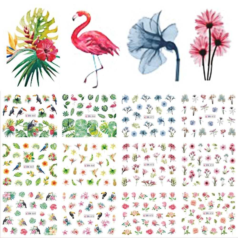 12 Designs Water Decals Slider Summer Jungle Flamingo Parrot Flora Watermark Nail Sticker Decoration Wraps Manicure BEBN865-876
