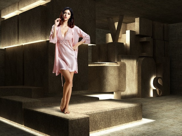 Новое объявление 2016 летние Twinset женщин халат полный рукав пижамы эмуляции шелковый халат твердые мини рубашки кружева v-образным вырезом 6621