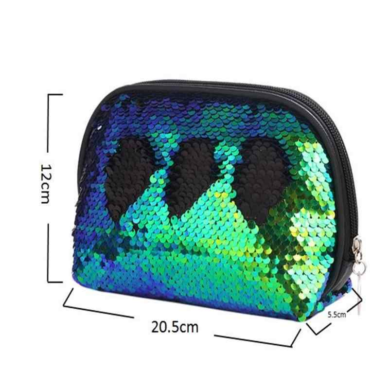 8933f4783f ... Mermaid Sequin Cosmetic Bag For Women Glitter Handbag Fashion Cute  Evening Clutch Bag Lady Double Color