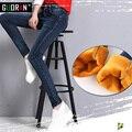 Mujeres pantalones vaqueros más el tamaño flaco de cintura alta, además de terciopelo espesar cálidos para el invierno fleece stretch pantalones lápiz pantalones femeninos