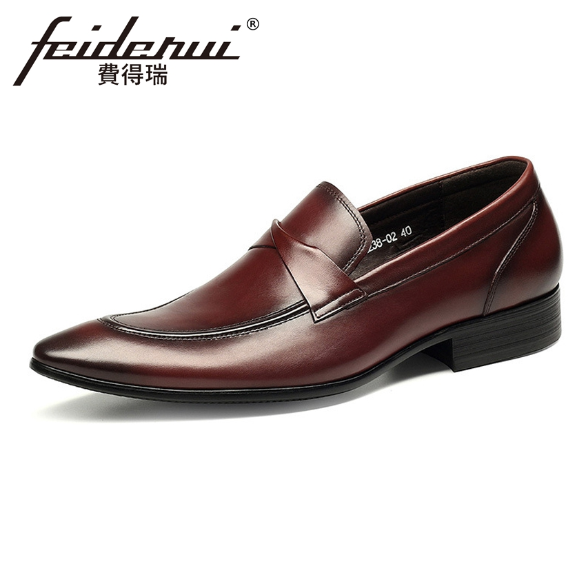 New Luxury Men's Loafers Pointed Toe Slip on Man Wedding Flats Genuine Leather Handmade Height Increasing Casual Shoes HMS45 new designer women fur flats luxury brand slip on loafers zapatillas mujer casual ladies shoes pointed toe sapato feminino black