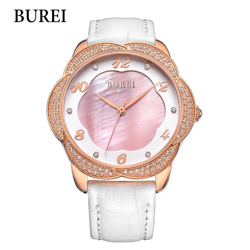 2017 New BUREI Women Dress Watches Top Fashion Brand Special Design Watch Diamond Sapphire Female Genuine Leather casual Clock