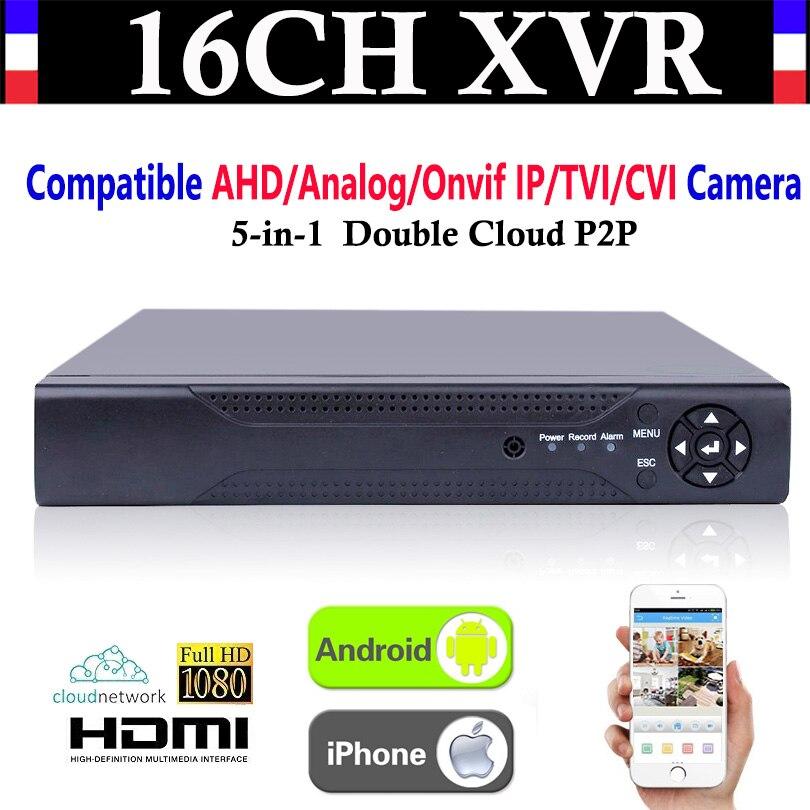 Upgrade CCTV 16CH Channel 1080P NVR AHD TVI CVI DVR+1080N 5-in-1 Video Recorder Compatibile AHD/Analog/Onvif IP/TVI/CVI Camera 5 in 1 security cctv dvr 4ch ahd 1080n h 264 hybrid video recorder for ahd tvi cvi analog ip camera onvif hdmi 1080p output