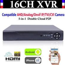 Upgrade CCTV 16CH Channel 1080P NVR AHD TVI CVI DVR+1080N 5-in-1 Video Recorder Compatibile AHD/Analog/Onvif IP/TVI/CVI Camera