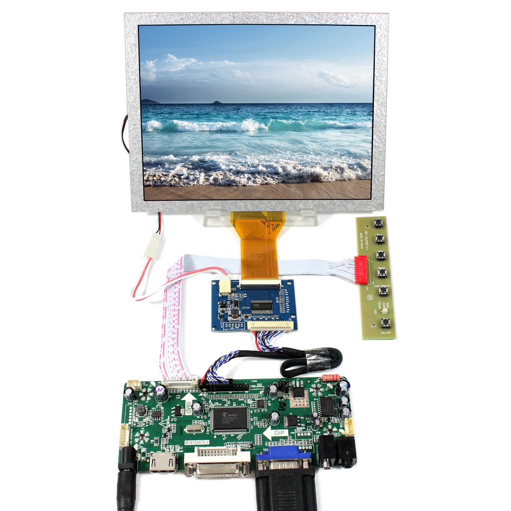 HDMI+VGA+DVI+Audio LCD Controller Board With 8inch 800x600 EJ080NA-05A LCD Panel free shipping vga audio hdmi dvi lcd controller board hdmi dvi for 10 1 inch 1024x600 n101l6 l0a n101l6 l02 wled lvds lcd panel