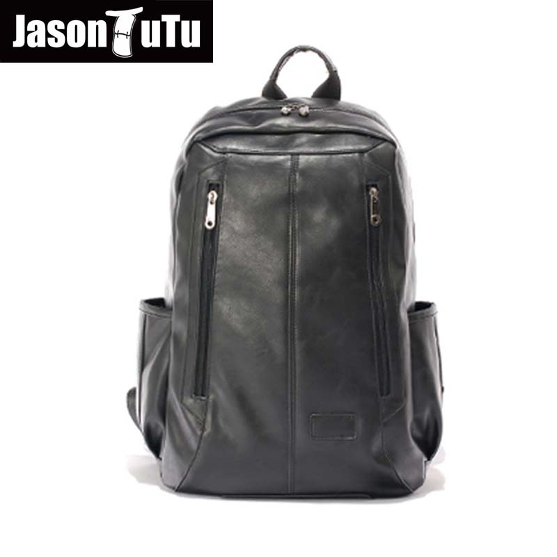 JASON TUTU Men travel backpack student school bag mochila Teenager laptop backpack Good quality PU leather backpack B432 chic canvas leather british europe student shopping retro school book college laptop everyday travel daily middle size backpack