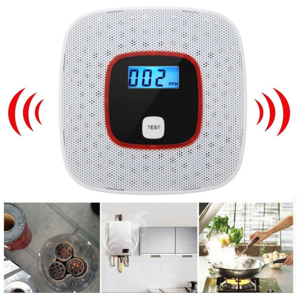 LCD CO Home Safety CO Carbon Monoxide Smoke Poisoning Gas Sensor High Sensitivity Warning Alarm Detector Black White new 1pc home safety high sensitive lcd co carbon monoxide poisoning sensor alarm warning detector tester