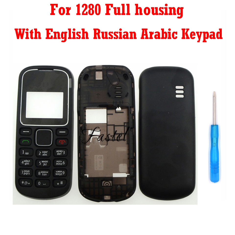 HKFASTEL New High Quality Cover For Nokia 1280 Full Mobile Phone Housing Cover Case English Russian Arabic Keypad Keyboard Tools
