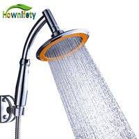Contemporary 6 Inch Bathroom Shower Head Handheld Rainfall Shower with Holder Chrome Polished