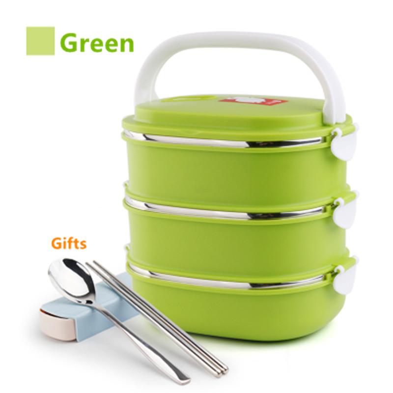 Hot!! 1-3 Layers Stainless Steel Lunch Box With Spoon Chopsticks Thermos For Kid Japanese Food Container Rectangle Bento Boxs